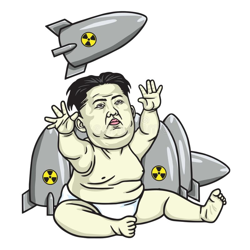 Le Jong-ONU de Kim jouant des missiles Illustration de vecteur de dessin animé 25 mai 2017