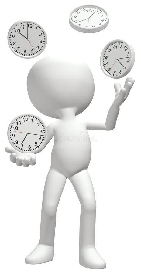 Le jongleur jongle des horloges managent le calendrier illustration stock