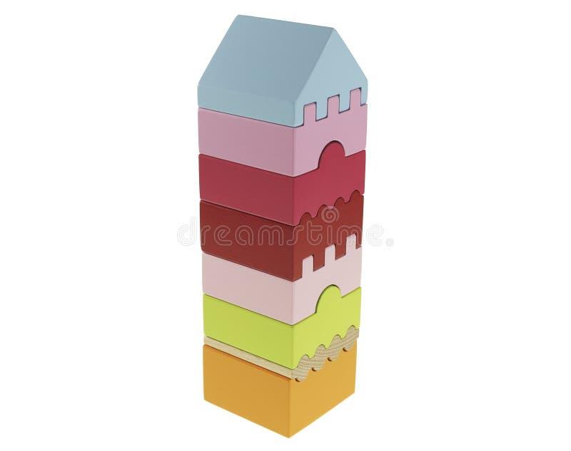 Le jouet se développant est une pyramide rectangulaire avec 8 parts sur un fond blanc compilé images stock