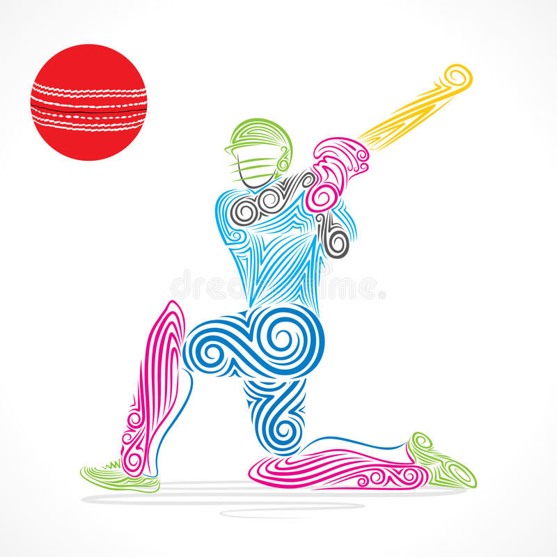 le joueur coloré de cricket a frappé la grande boule, conception de croquis illustration de vecteur