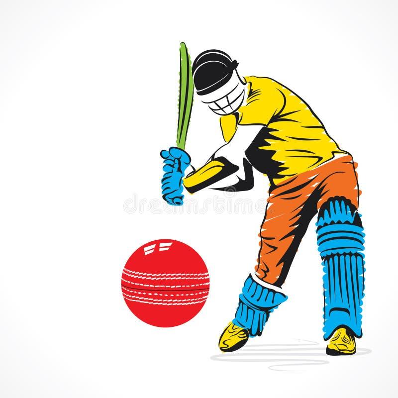 le joueur coloré de cricket a frappé la grande boule, conception de croquis illustration stock