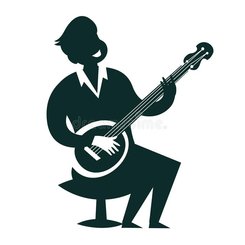 Le joueur de banjo silhouette l'illustration de vecteur illustration stock