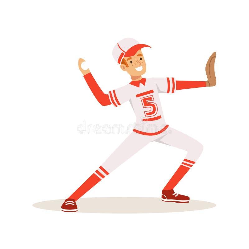 Le joueur de baseball de sourire dans un uniforme rouge lançant la boule dirigent l'illustration illustration libre de droits