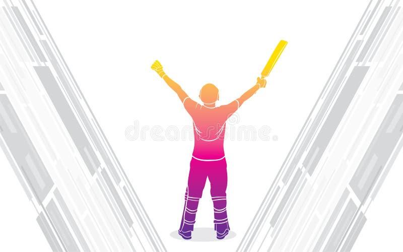 Le joueur de cricket célèbrent la conception d'affiche de siècle illustration stock