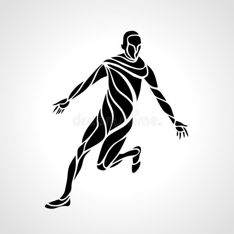 Le joueur de football ou de football donne un coup de pied la boule illustration libre de droits