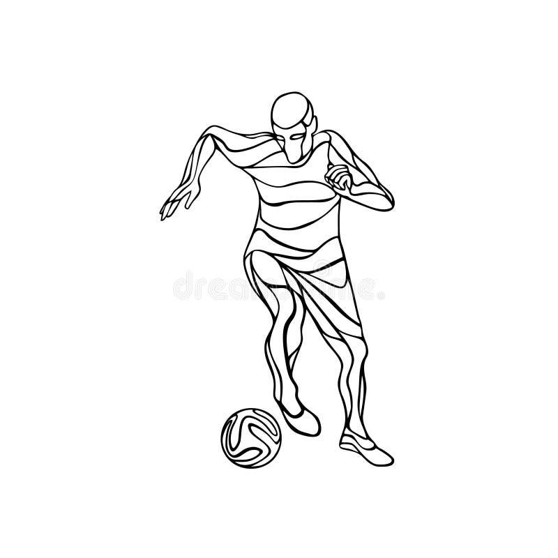Le joueur de football ou de football donne un coup de pied la boule Schéma illustration de vecteur