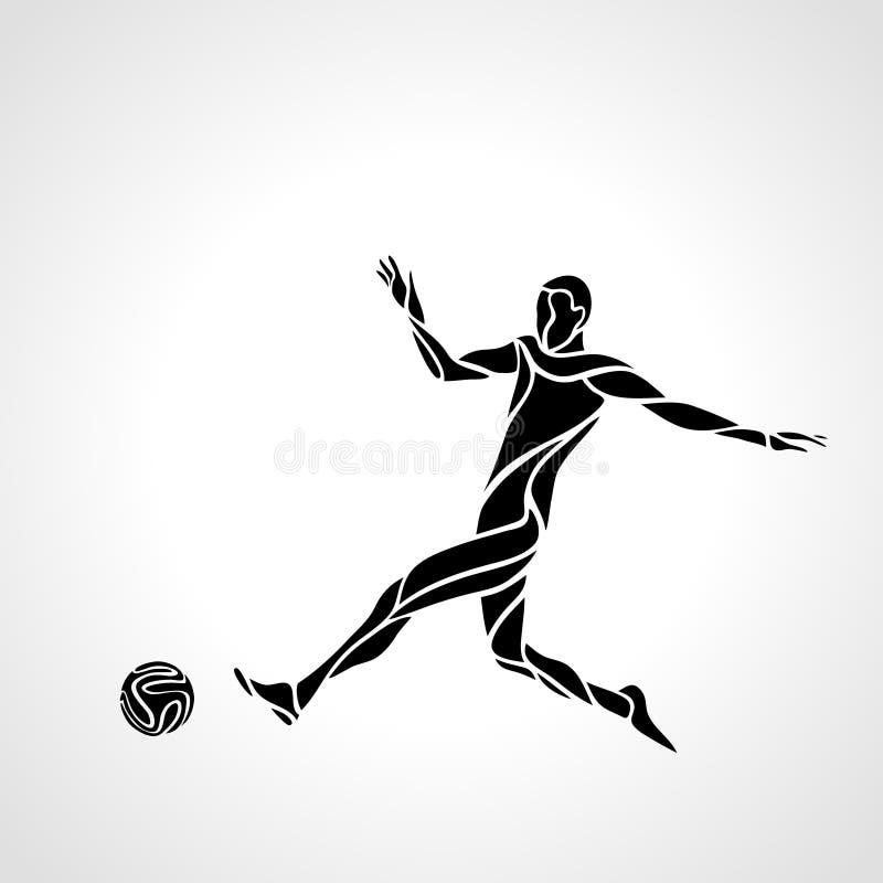 Le joueur de football ou de football donne un coup de pied la boule, silhouette de sportif illustration stock