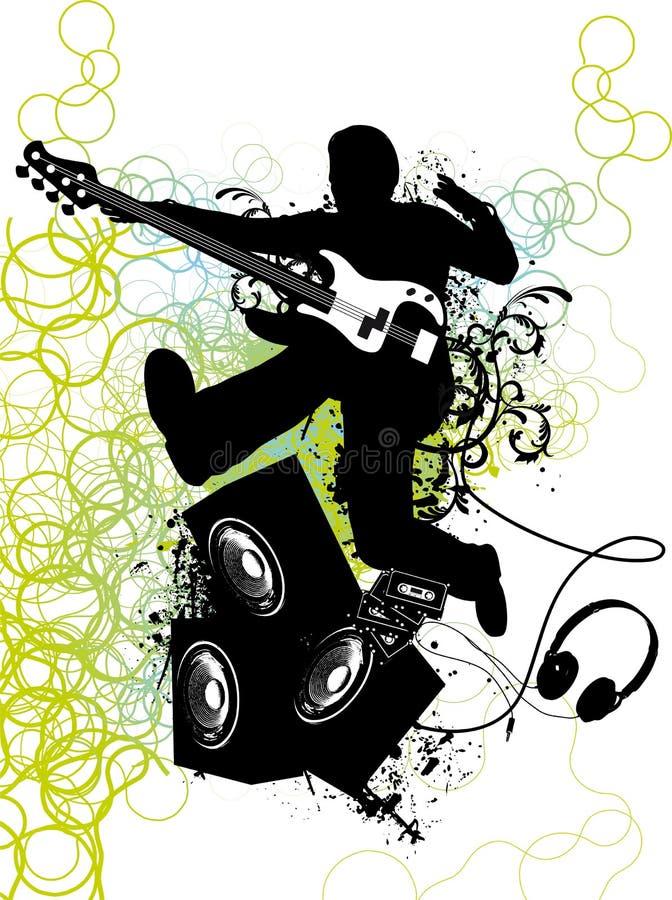 Le joueur de guitare saute illustration de vecteur