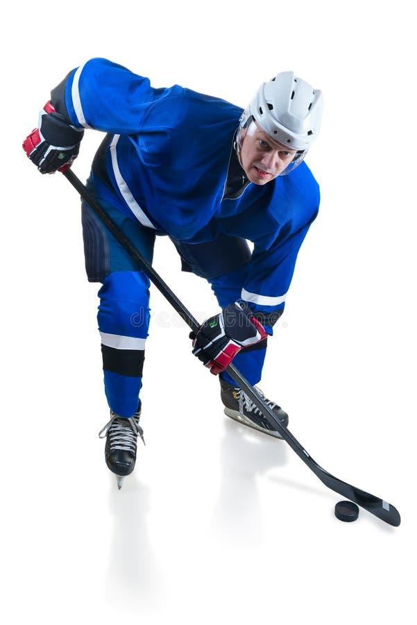 Le joueur de hockey se tapissent dedans position images libres de droits