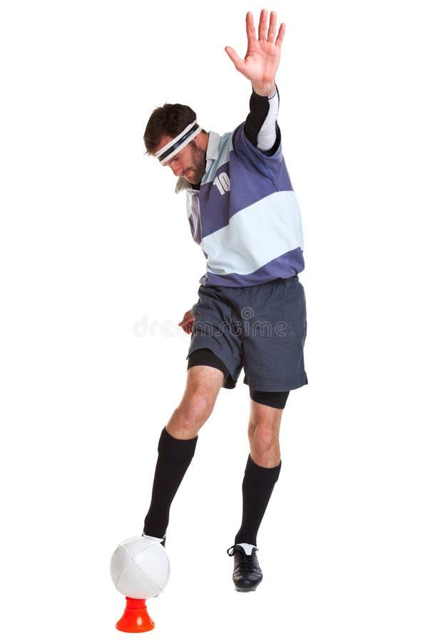 Le joueur de rugby a coupé sur le blanc photos libres de droits