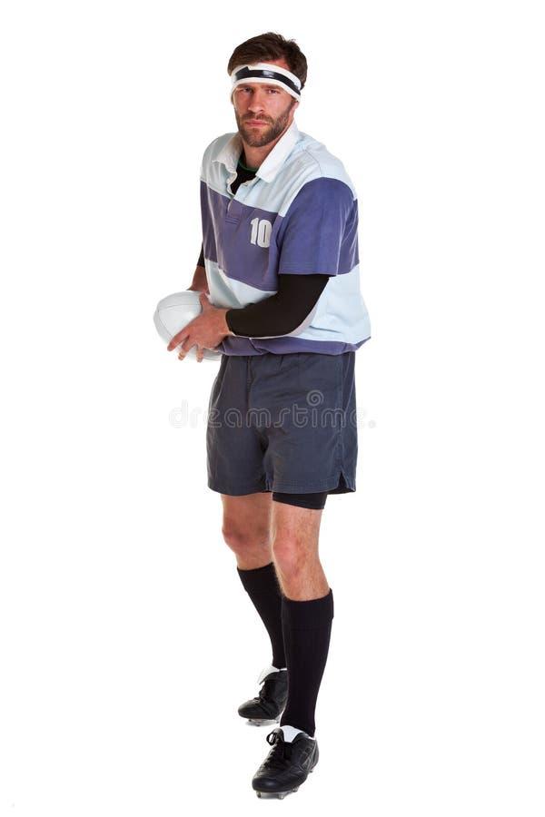 Le joueur de rugby a coupé sur le blanc image libre de droits