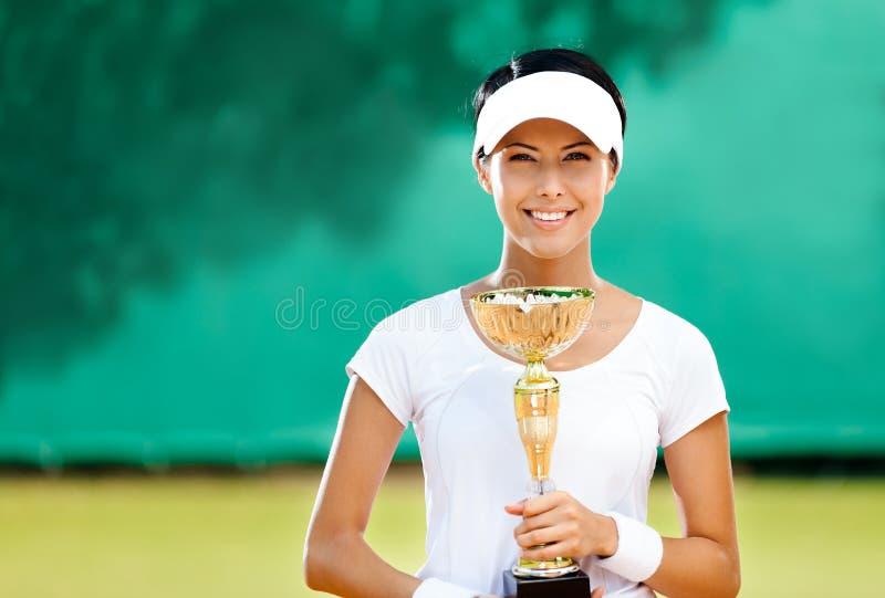 Le joueur de tennis féminin professionnel a gagné le match image libre de droits