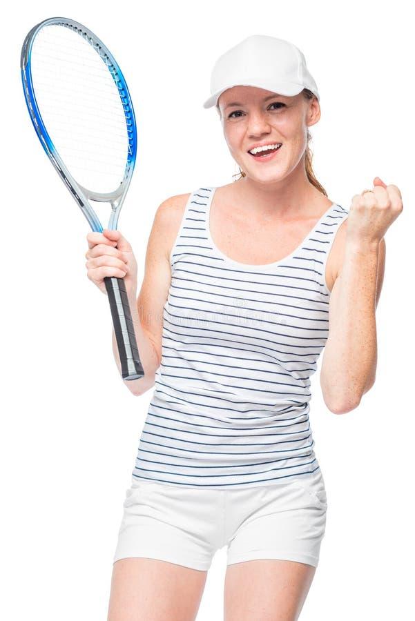 Le joueur de tennis réussi a gagné le jeu, le portrait émotif photos stock