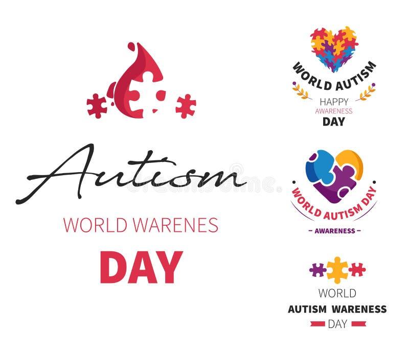 Le jour d'autisme du monde a isolé le problème ayant une vie sociale d'incapacité d'icônes illustration de vecteur