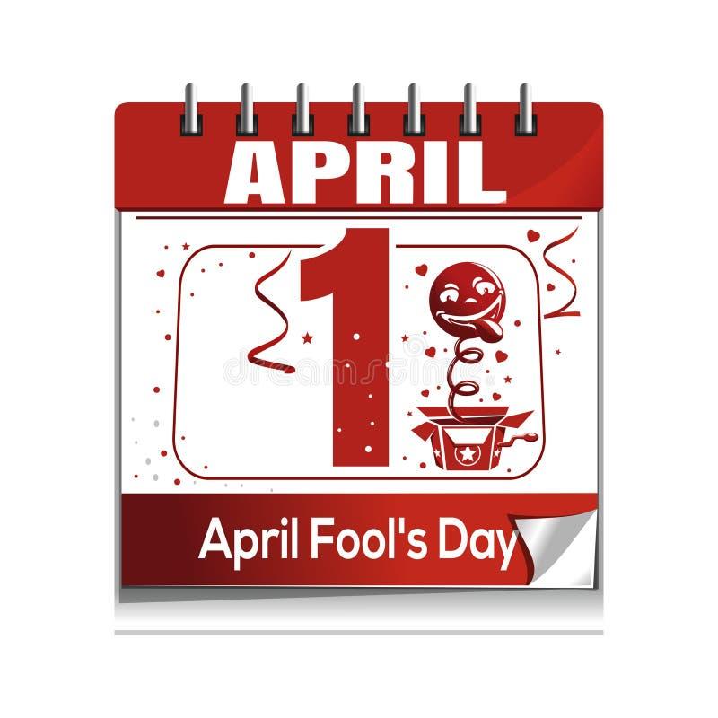 Le jour d'imbéciles d'avril 1er avril Icône de calendrier quotidien illustration stock