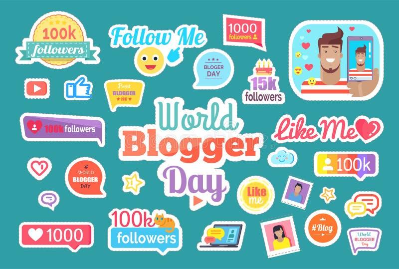 Le jour de Blogger du monde me suivent pour boutonner le vecteur réglé illustration libre de droits