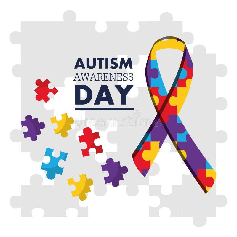 Le jour de conscience d'autisme déconcerte la carte de célébration de ruban de forme illustration stock