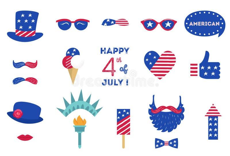 Le Jour de la Déclaration d'Indépendance 4ème des Etats-Unis de la partie de cabine de photo de juillet étaye des symboles améric illustration de vecteur