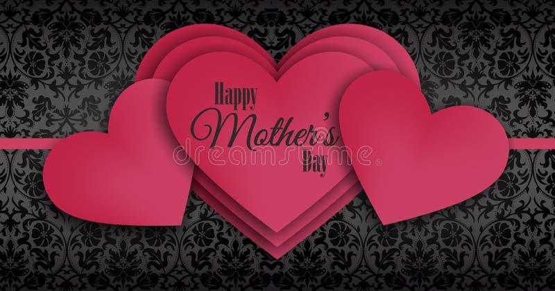 Le jour de mère heureux, série de recouvrement de coeurs rouges photos libres de droits