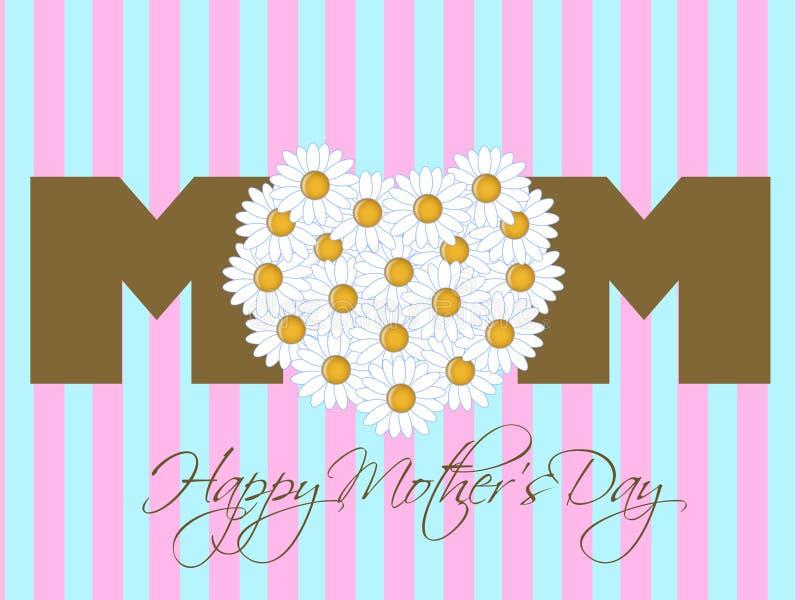 Le jour de mères heureux avec la marguerite fleurit le coeur illustration de vecteur