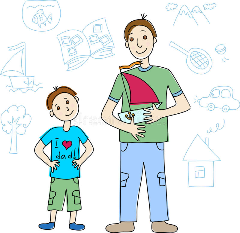 Le jour de père. Père et fils avec le bateau illustration stock