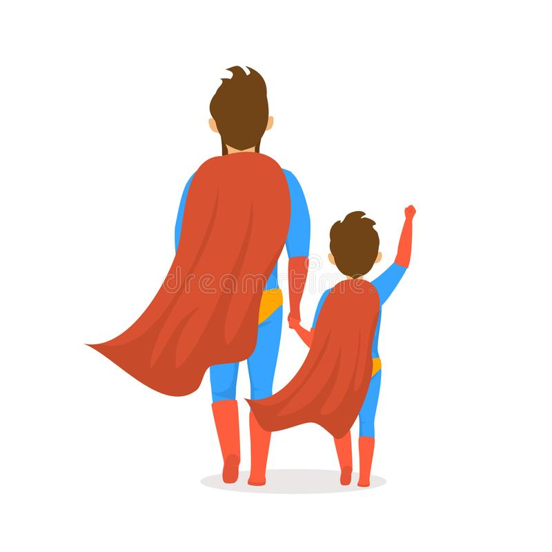 Le jour de pères a isolé la scène de vue de postérieur de bande dessinée d'illustration de vecteur avec le papa et le fils habill illustration libre de droits