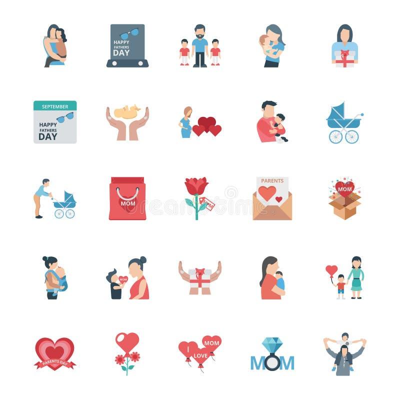 Le jour de parent a isolé l'ensemble d'icônes de vecteur qui peut être facilement édité ou modifié illustration libre de droits