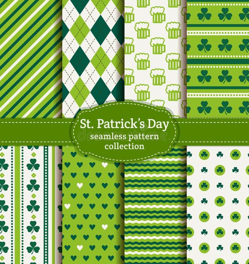 Le jour de St Patrick heureux ! Ensemble de modèles sans couture de vecteur illustration stock