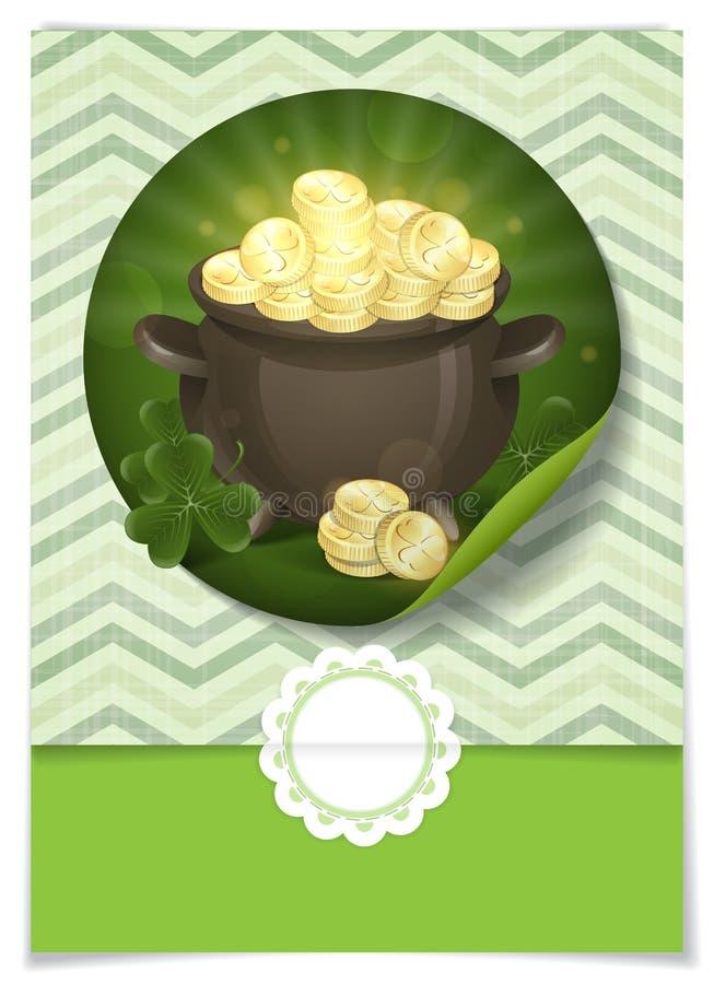 Le jour de St Patrick. Pot d'or. illustration stock