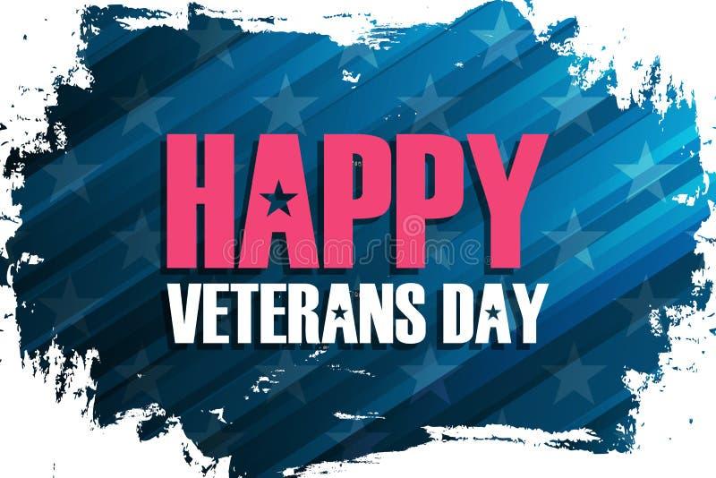 Le jour de vétérans des Etats-Unis célèbrent la bannière avec le fond de course de brosse et le jour de vétérans heureux de salut illustration stock