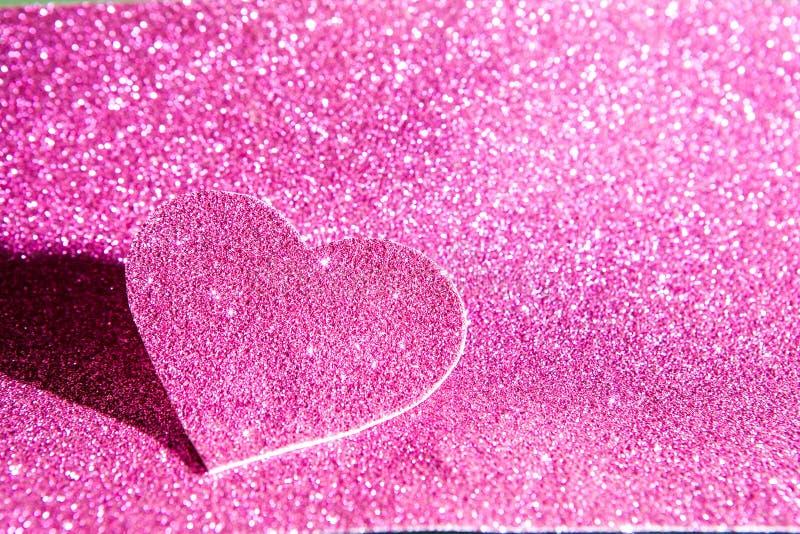 Le jour de valentine abstrait brillant de scintillement rose images stock