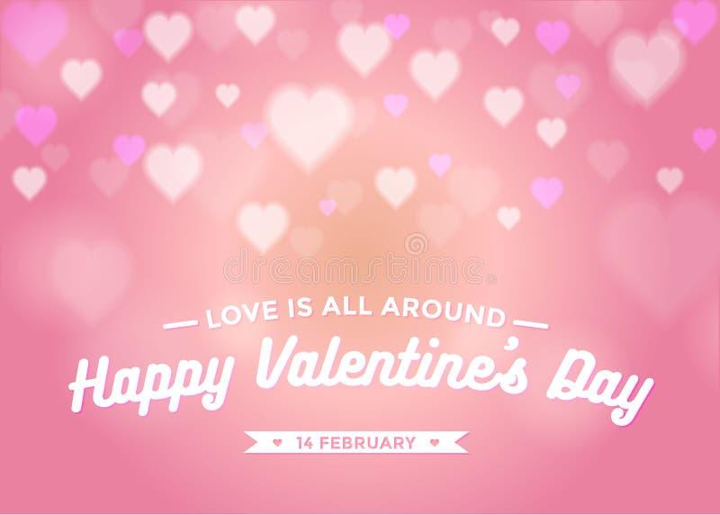 Le jour de valentine abstrait de fond avec le bokeh de coeurs dans la couleur rose illustration libre de droits