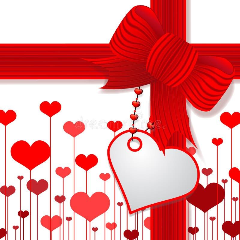 Le jour de Valentine actuel avec la proue rouge illustration stock