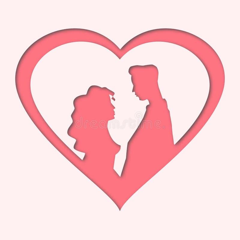 Le jour de valentines heureux - autocollant de papier de coeur de deux rouges avec l'ombre - dirigent la carte postale d'illustra images stock