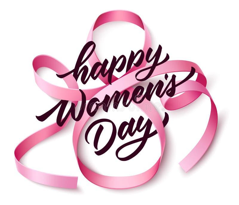 Le jour des femmes heureuses de vecteur marquant avec des lettres le ruban du 8 mars illustration libre de droits