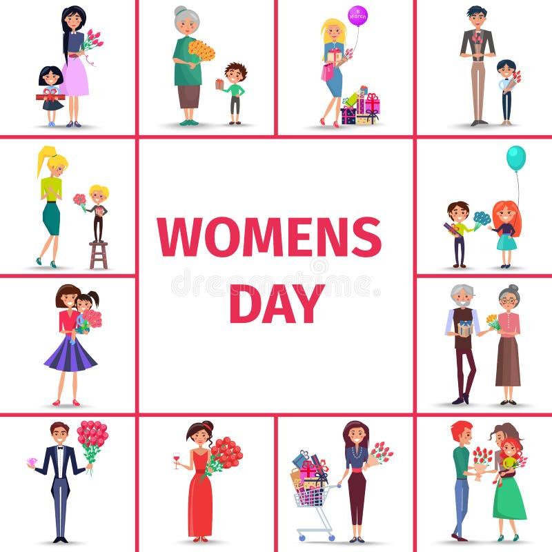 Le jour des femmes heureuses pour des filles, des femmes et des grands-mères illustration de vecteur