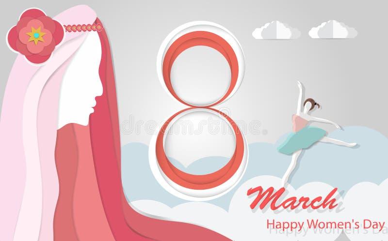 Le jour des femmes internationales, le 8 mars avec de belles femmes d'une chevelure roses et femmes dansant le papier d'art, illu illustration de vecteur