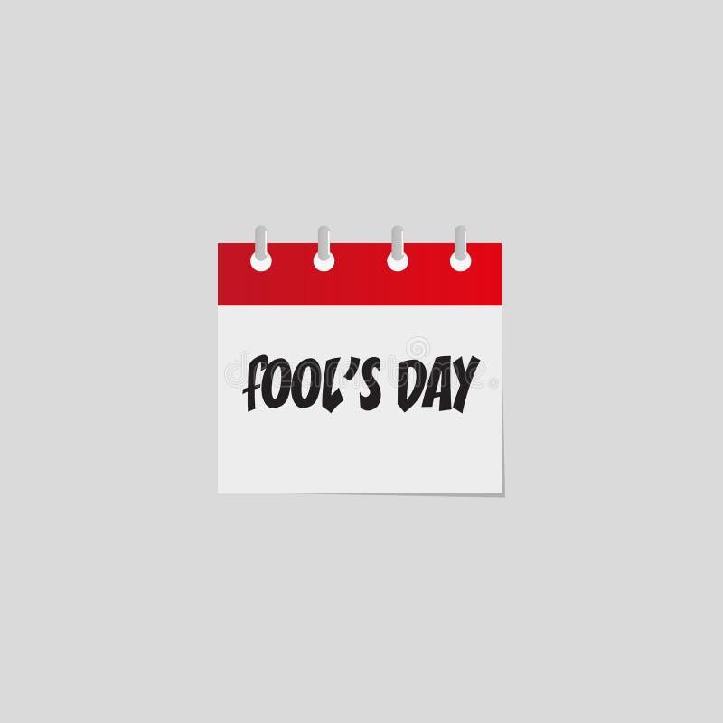 Le jour des imbéciles Icône plate de calendrier quotidien de vecteur illustration libre de droits