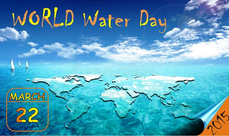 Le jour du monde pour l'eau a célébré le chaque 22 mars photos stock