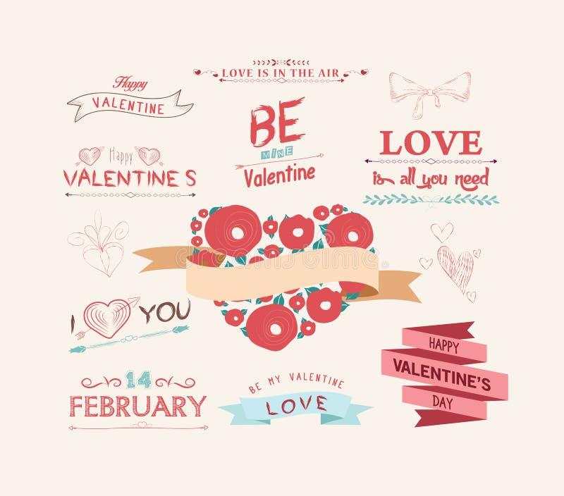 Le jour du ` s de Valentine a placé - des éléments de conception de cru illustration stock