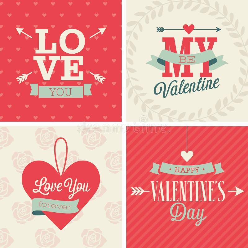 Le jour du ` s de Valentine a placé - quatre cartes Liistration de vecteur illustration libre de droits