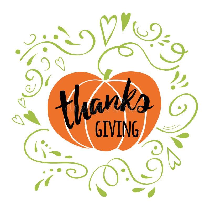 Le jour heureux de thanksgiving, donnent des mercis, ornement romantique vert décoré par conception tirée par la main d'automne illustration de vecteur