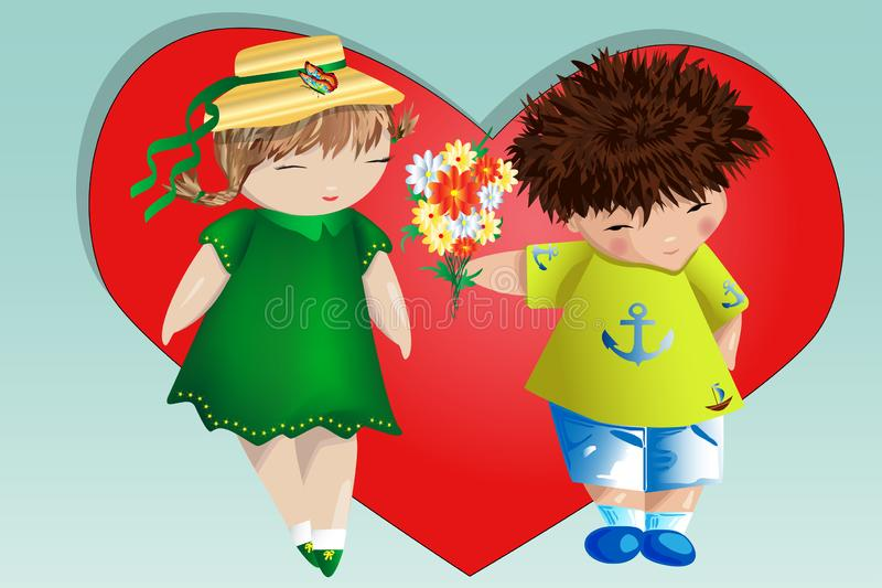 Le jour heureux de Valentine Carte d'amour Le garçon donne à la fille un bouquet sur le fond du coeur Déclaration de l'amour, pro photo stock