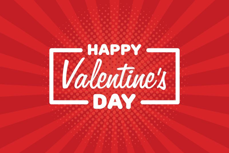 Le jour heureux de Valentine de carte de voeux Lettrage sur le rétro fond de vintage Illustration de vecteur illustration libre de droits