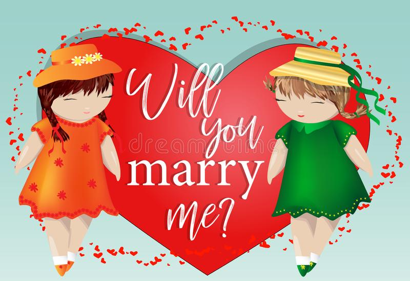 Le jour heureux de Valentine Une paire de filles sur le fond du coeur Le concept de l'amour lesbien même sexe, une paire de femme image stock