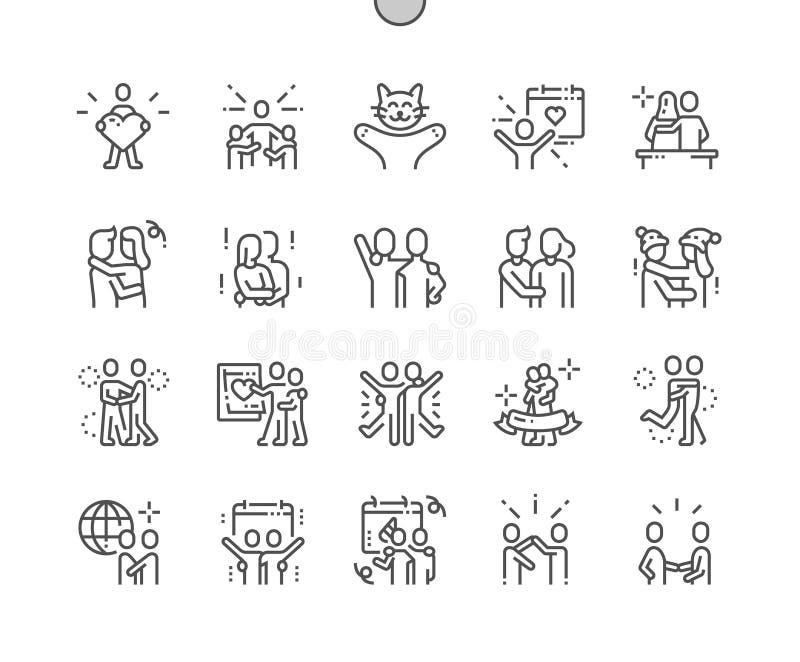 Le jour international d'étreinte Bien-a ouvré la ligne mince de vecteur parfait de pixel la grille 2x des icônes 30 pour des grap illustration stock