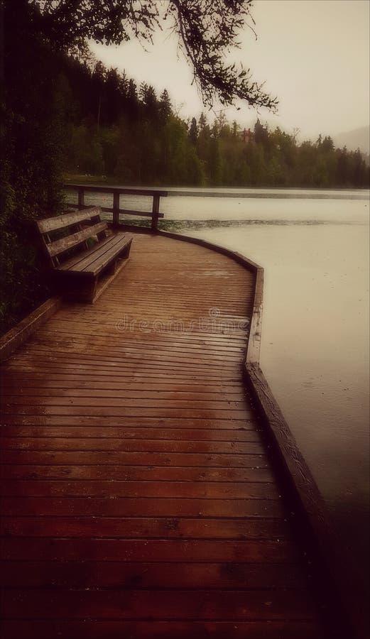 Le jour pluvieux au lac a saigné la Slovénie photos stock