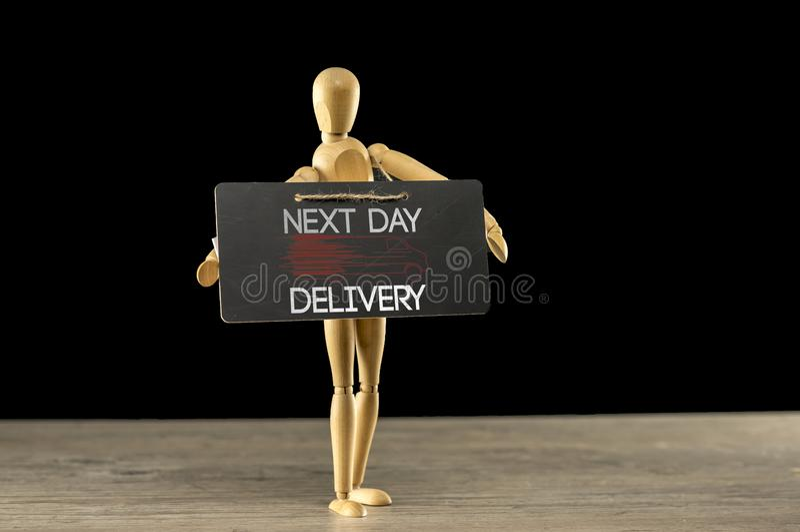 Le jour suivant signe de la livraison photo stock