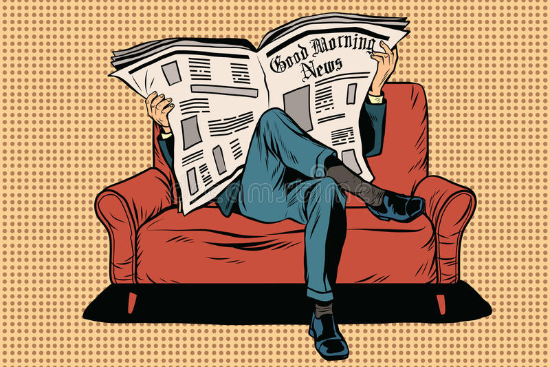 Le journal du matin lit l'homme illustration stock