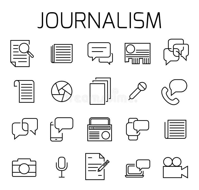 Le journalisme a rapporté l'ensemble d'icône de vecteur illustration de vecteur
